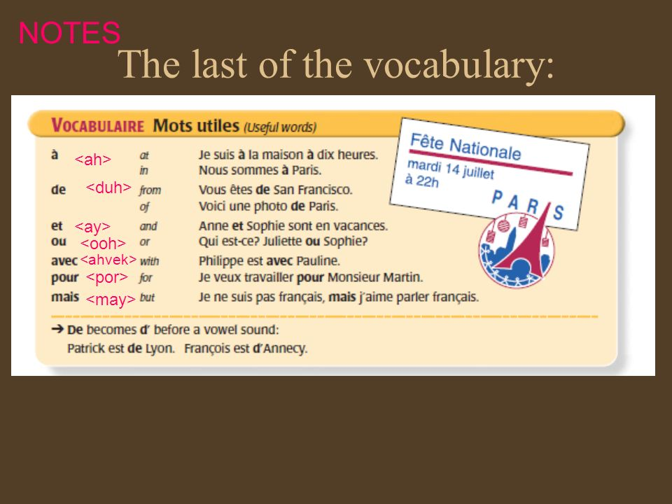The last of the vocabulary: