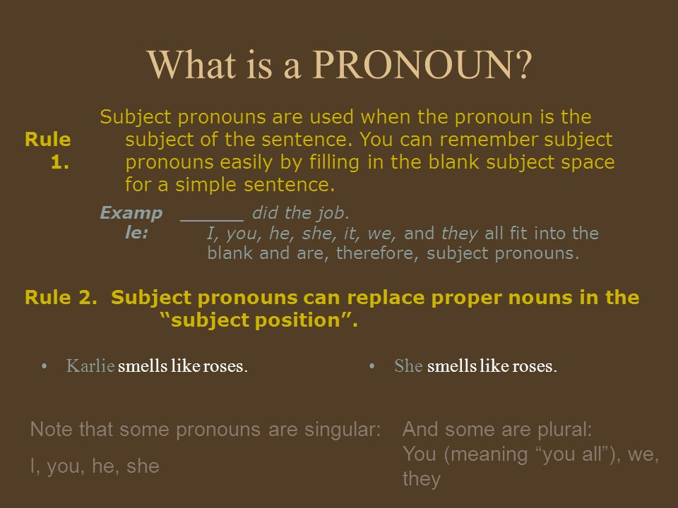 What is a PRONOUN Note that some pronouns are singular: