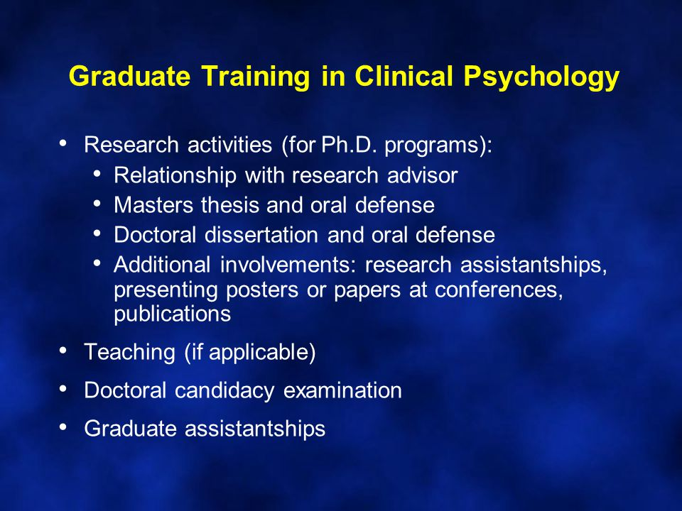 clinical psychology doctoral thesis Doctoral program requirements course requirements the following are the basic required courses for the clinical psychology doctoral program.