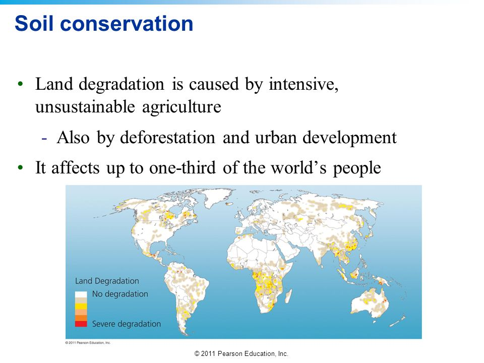Soil conservation Land degradation is caused by intensive, unsustainable agriculture. Also by deforestation and urban development.