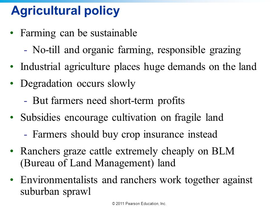 Agricultural policy Farming can be sustainable