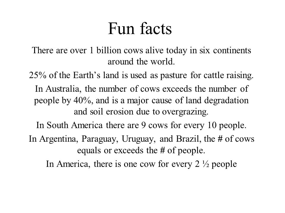 Beef cattle management ppt video online download for Fun facts about countries around the world