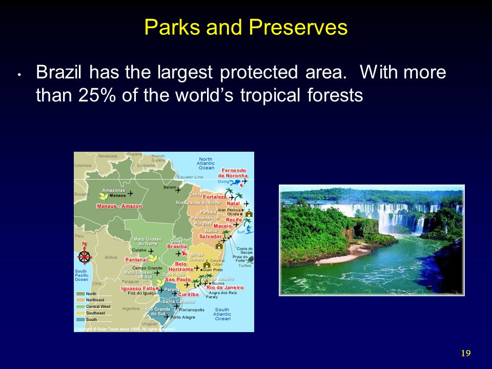 Parks and Preserves Brazil has the largest protected area.