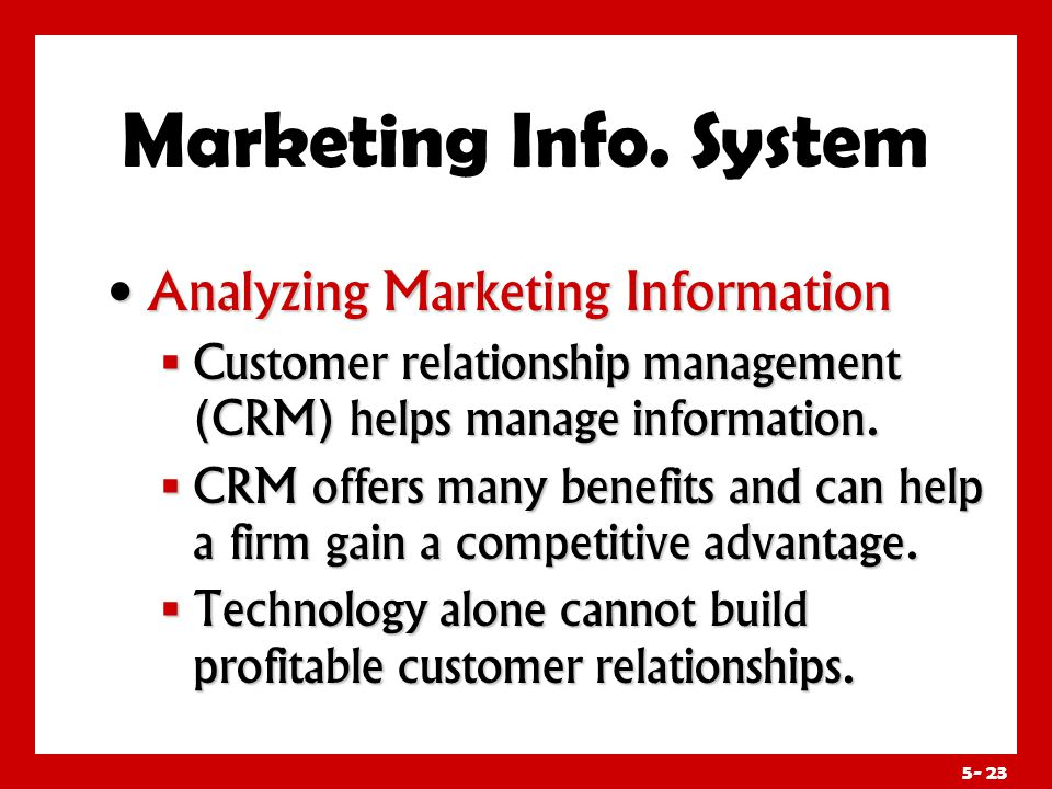 Marketing Info. System Distributing and Using Marketing Information