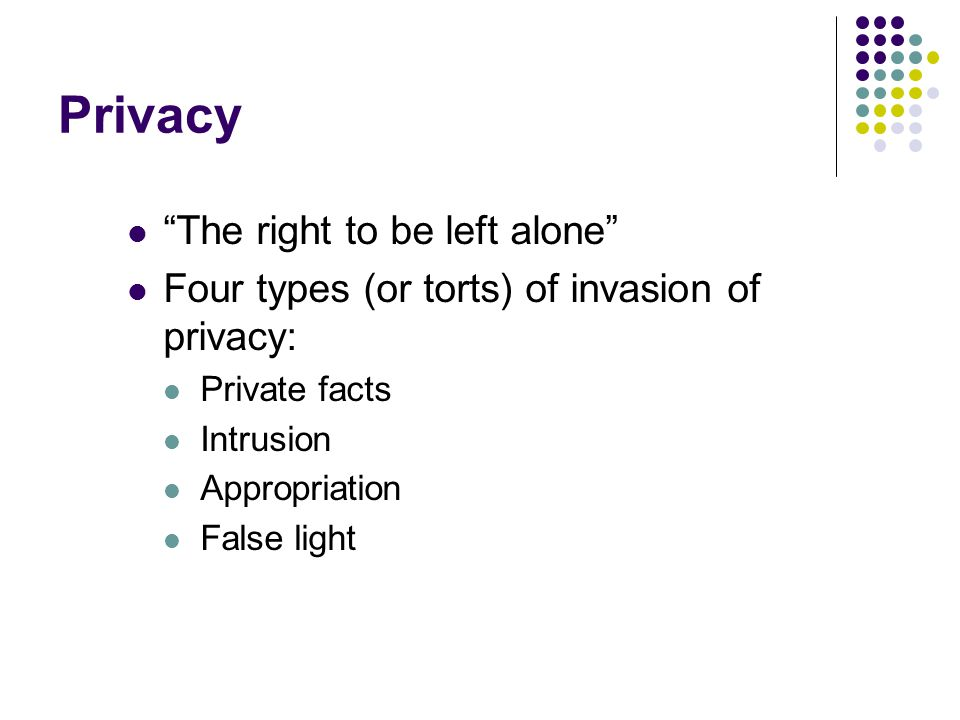 Privacy The right to be left alone