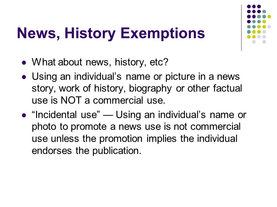 News, History Exemptions