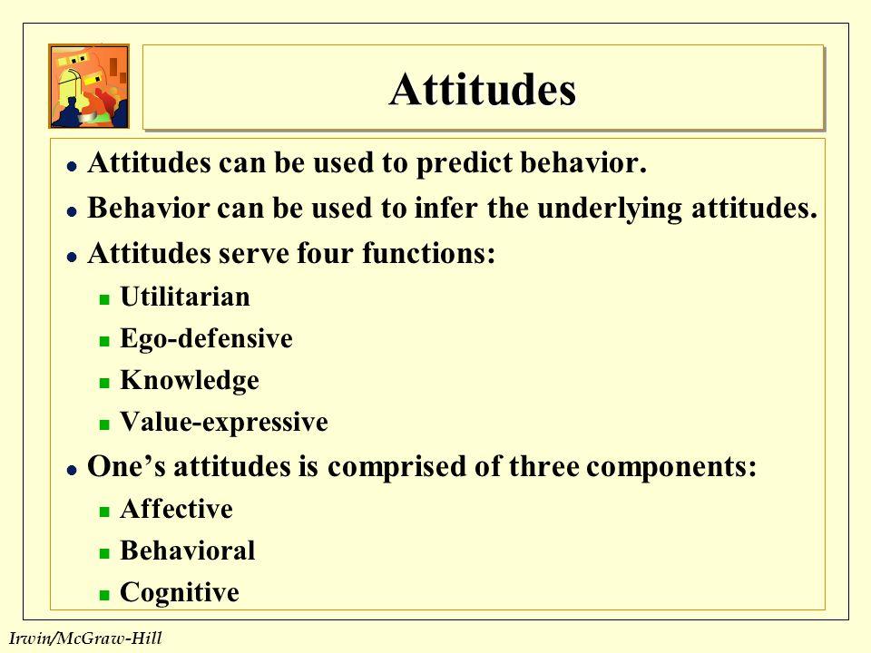 Attitudes Attitudes can be used to predict behavior.