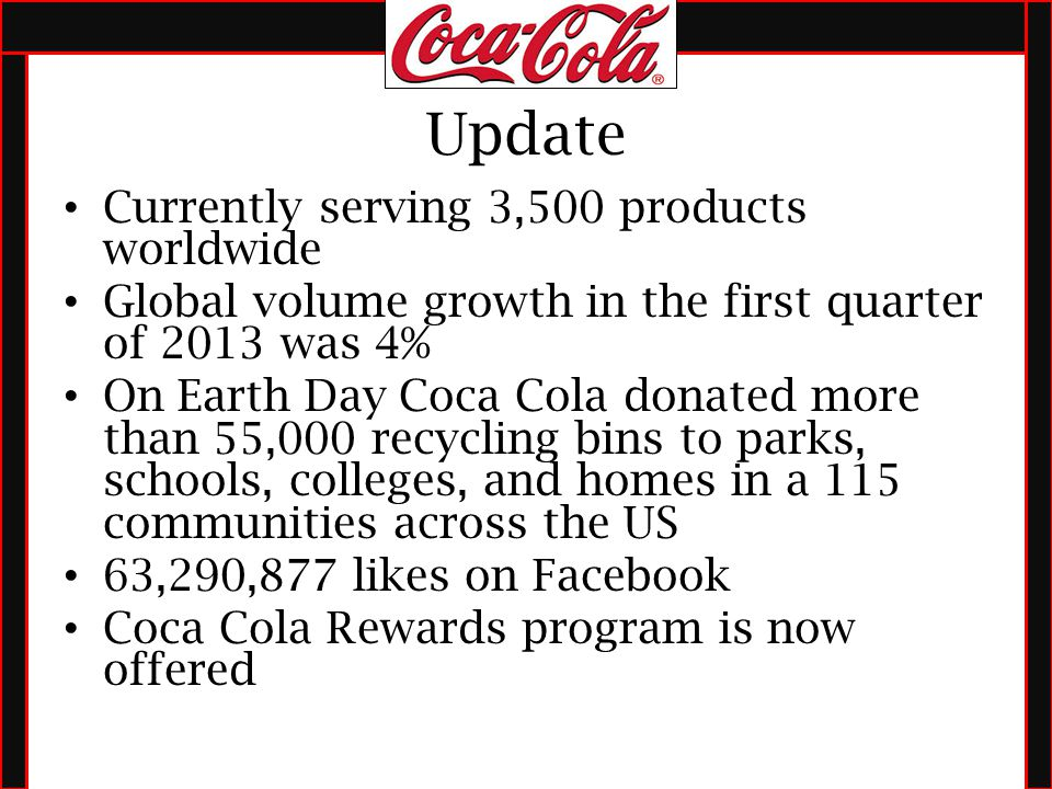 a research on the strategic management of coca cola company Critically evaluate the vision, values, mission statement, and goals/objectives  this case asks you to begin your strategic analysis of the coca-cola company.