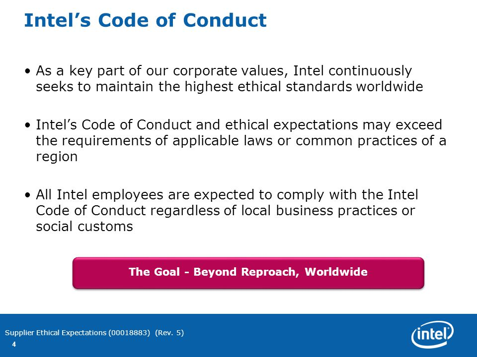 Intel's Ethical Expectations for Suppliers & their ...