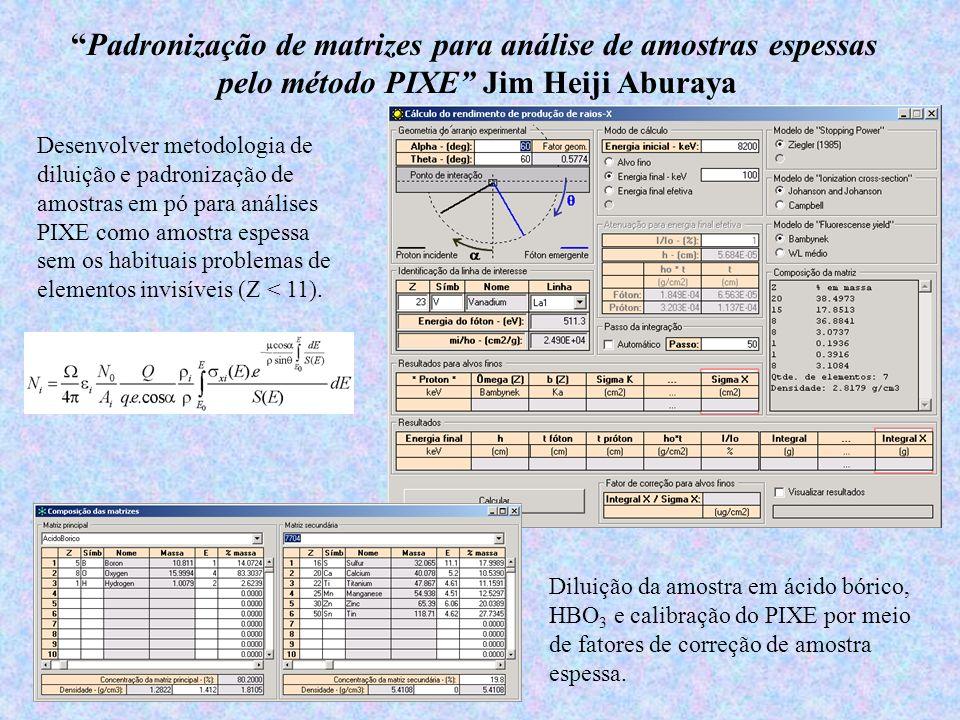 Padronização de matrizes para análise de amostras espessas pelo método PIXE Jim Heiji Aburaya