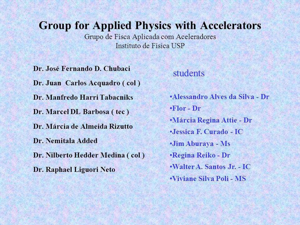 Group for Applied Physics with Accelerators Grupo de Físca Aplicada com Aceleradores Instituto de Física USP