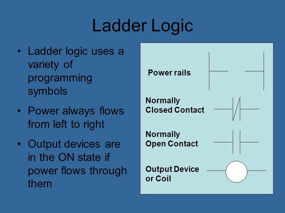 Ladder Logic Ladder logic uses a variety of programming symbols
