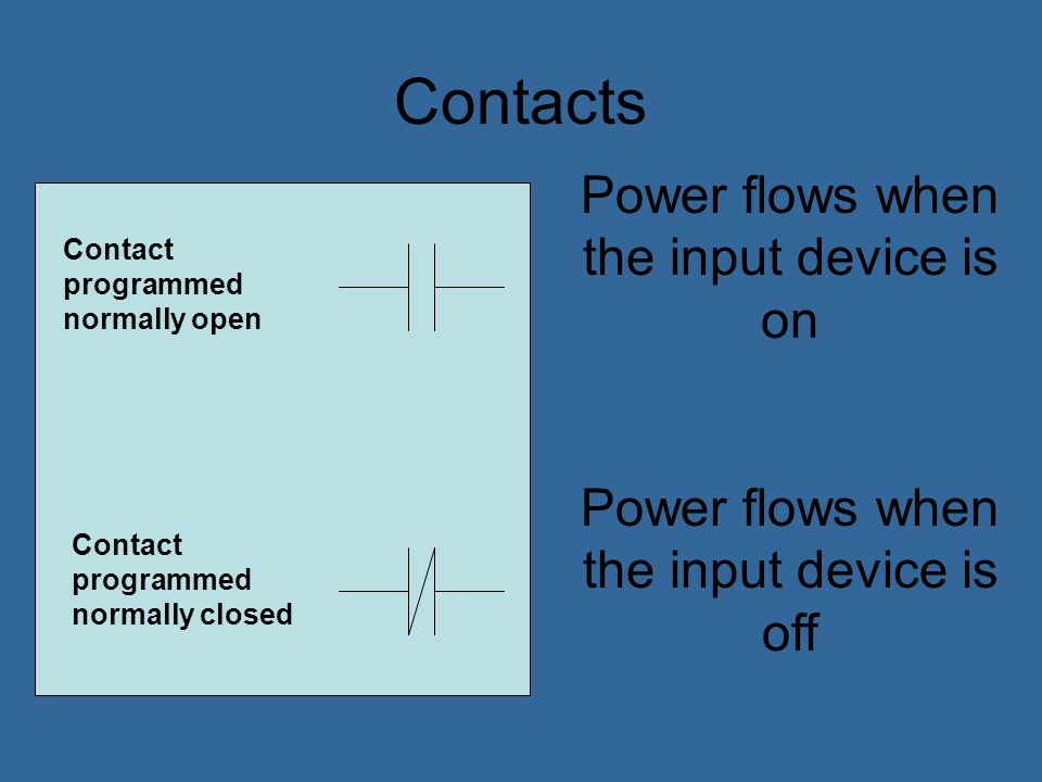 Contacts Power flows when the input device is on