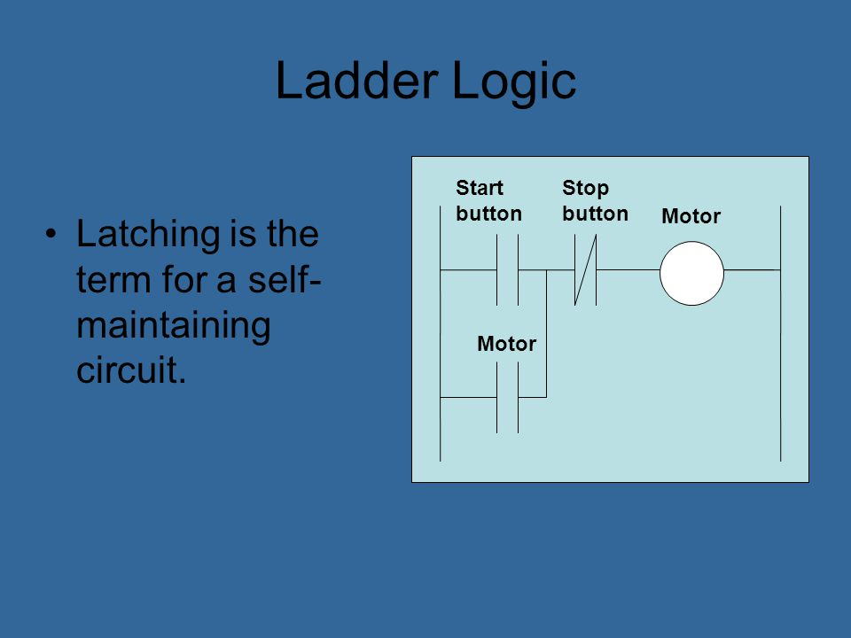 Ladder Logic Latching is the term for a self-maintaining circuit.