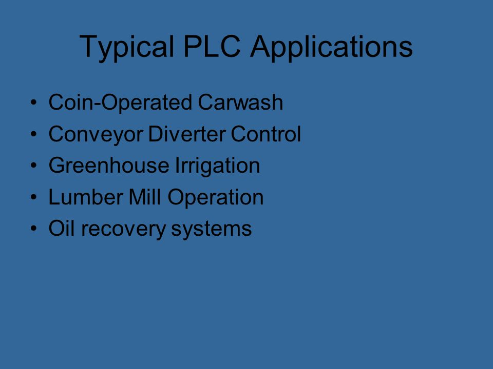 Typical PLC Applications