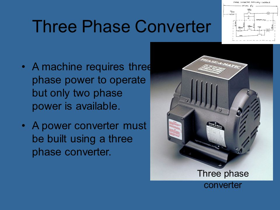 Three Phase Converter A machine requires three phase power to operate but only two phase power is available.