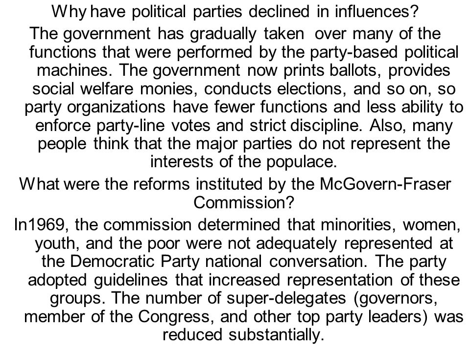 "have political parties declined in democracies politics essay Democracy in distress - ii  , has the representative element of democracy declined  the evolution of indian political parties ""through a politics of."