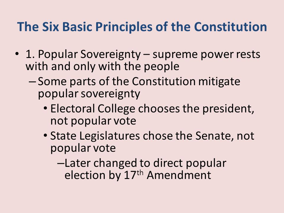 six basic principles of the constitution essay In 1787 and 1788, madison authored, with alexander hamilton and john jay, the  federalist papers, a penetrating commentary on the principles and processes.