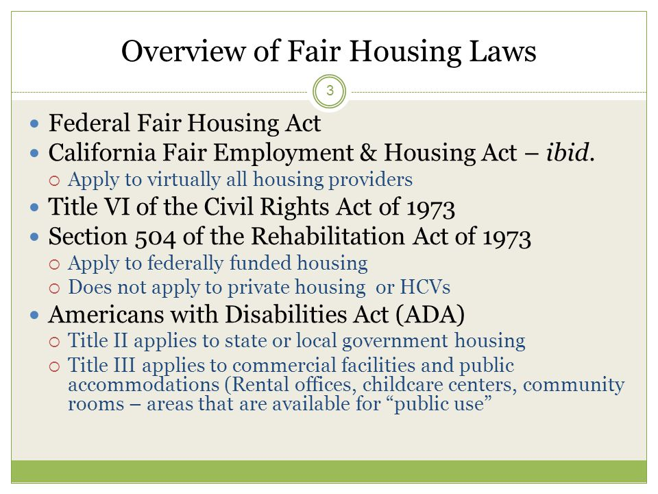 Overview Of Fair Housing Laws