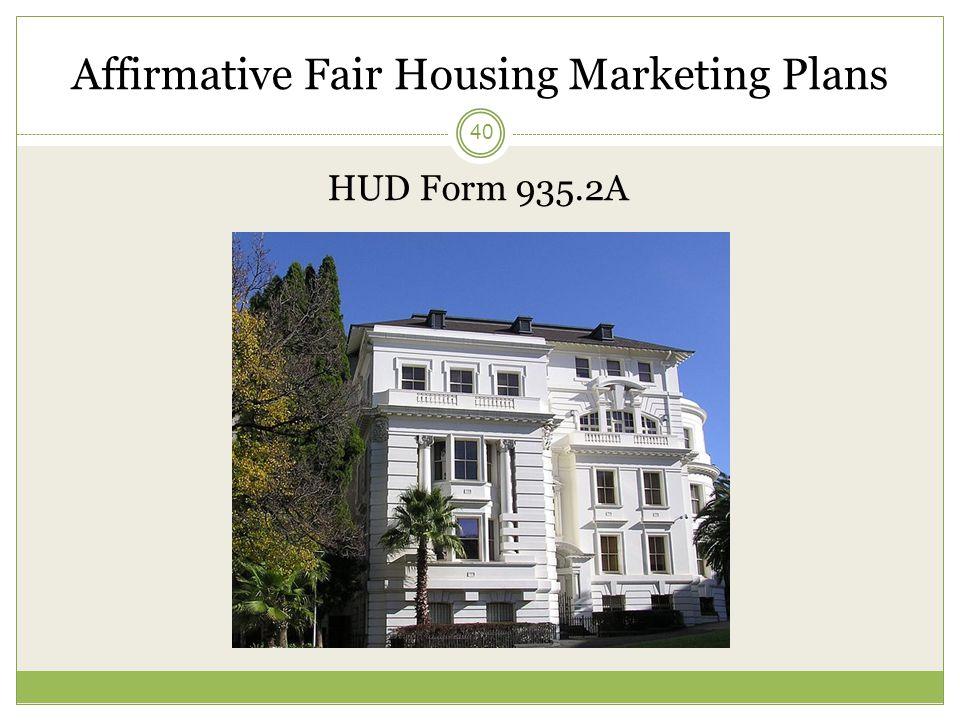 Affirmative Fair Housing Marketing Plans