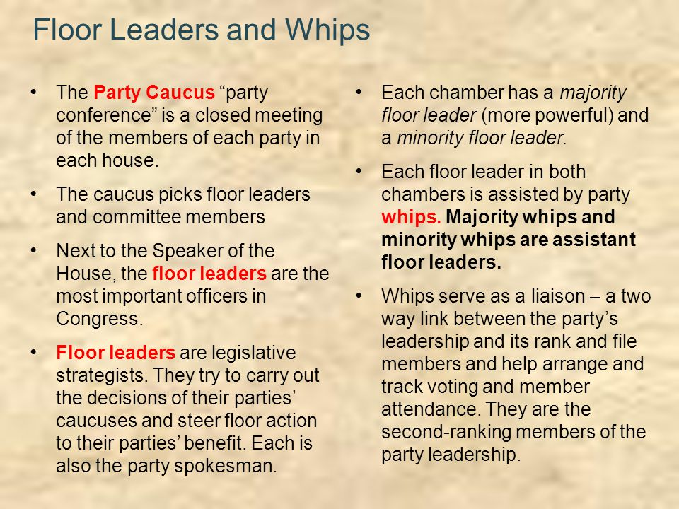 C h a p t e r 12 congress in action ppt download for Who are the floor leaders