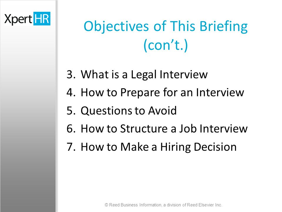 job interview objectives