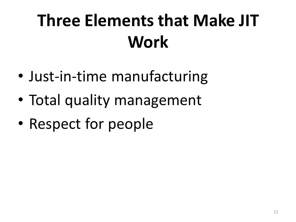 Three Elements that Make JIT Work