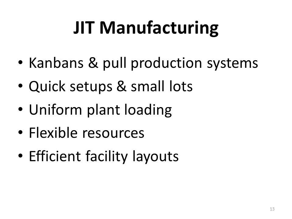 JIT Manufacturing Kanbans & pull production systems