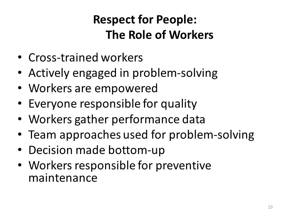 Respect for People: The Role of Workers
