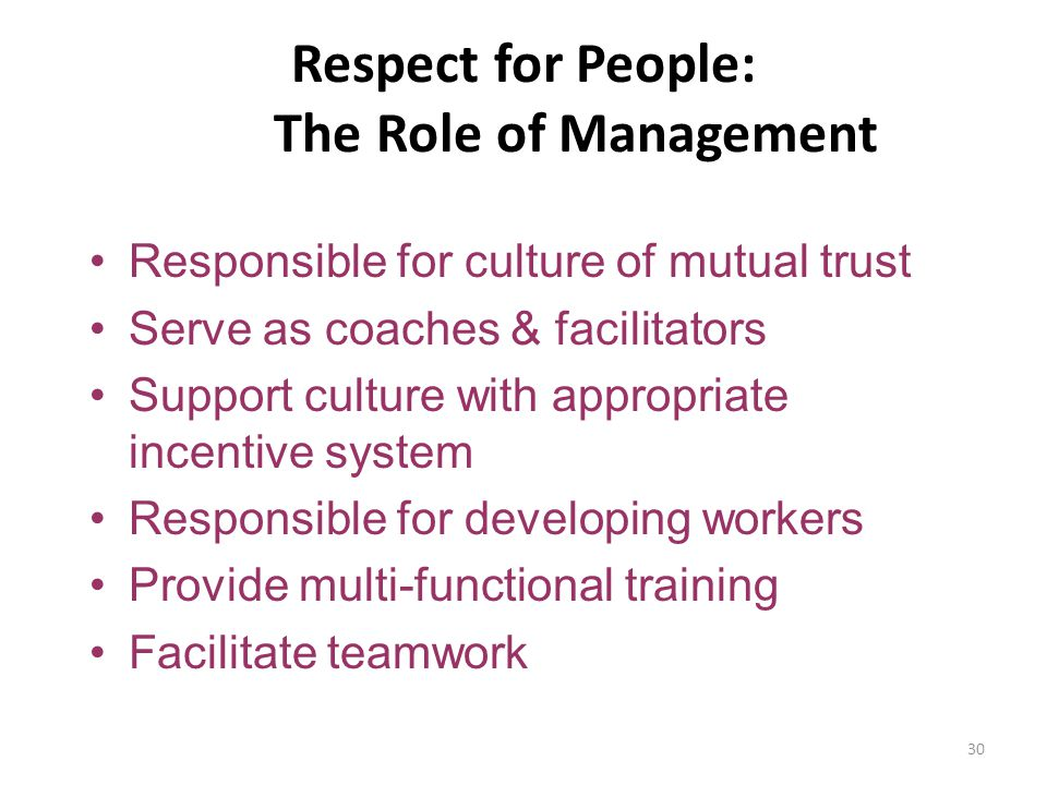 Respect for People: The Role of Management