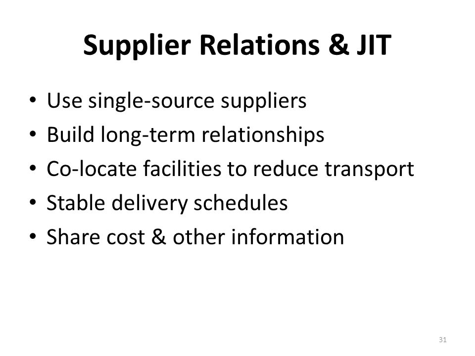 Supplier Relations & JIT