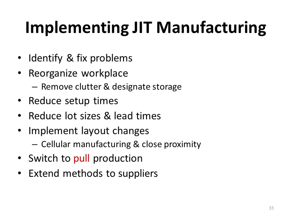 Implementing JIT Manufacturing