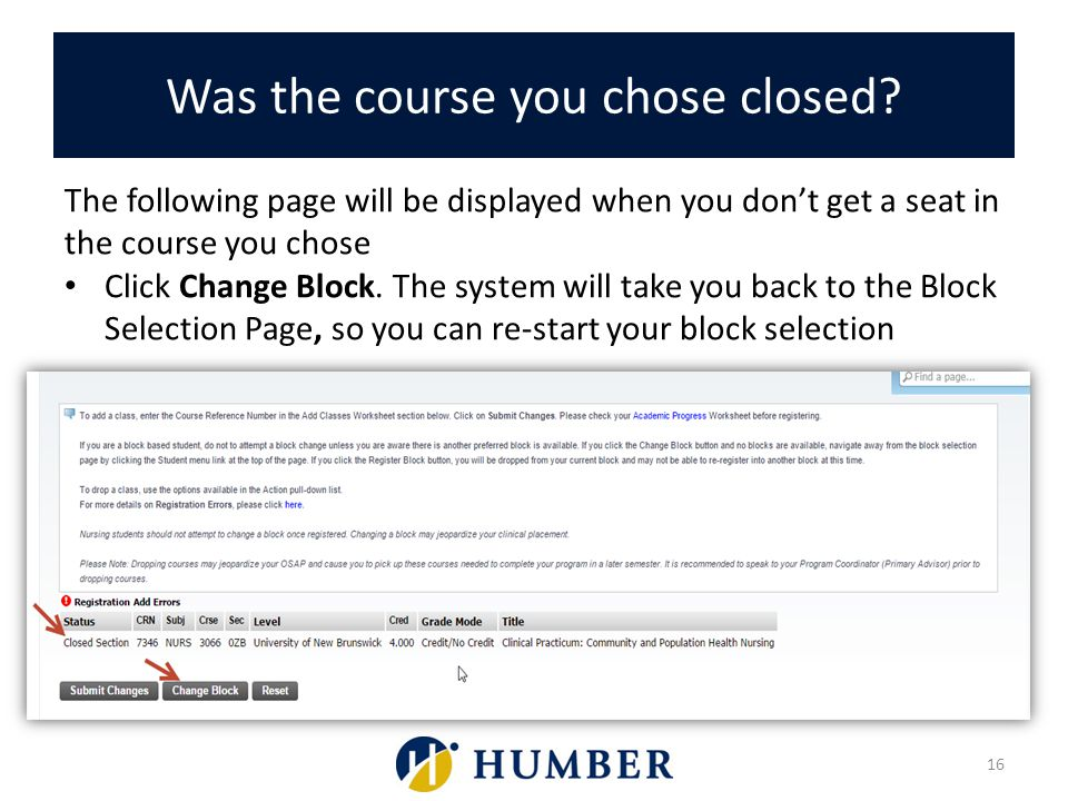 Was the course you chose closed