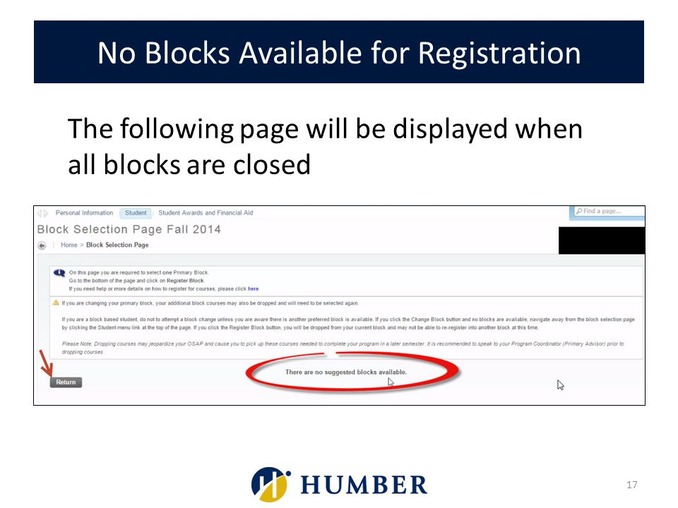No Blocks Available for Registration