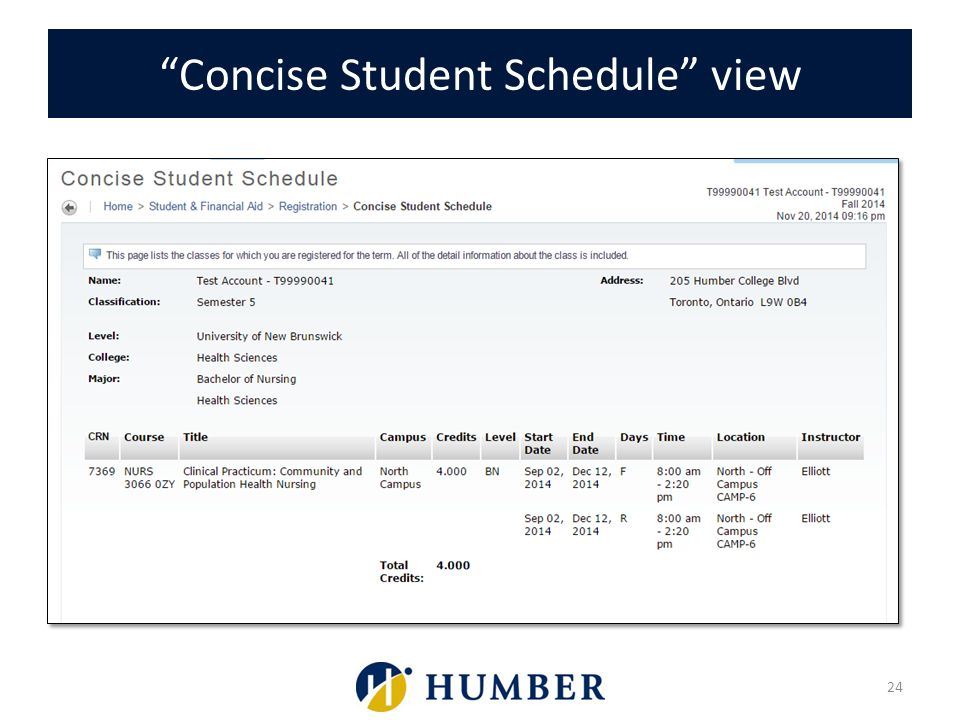 Concise Student Schedule view