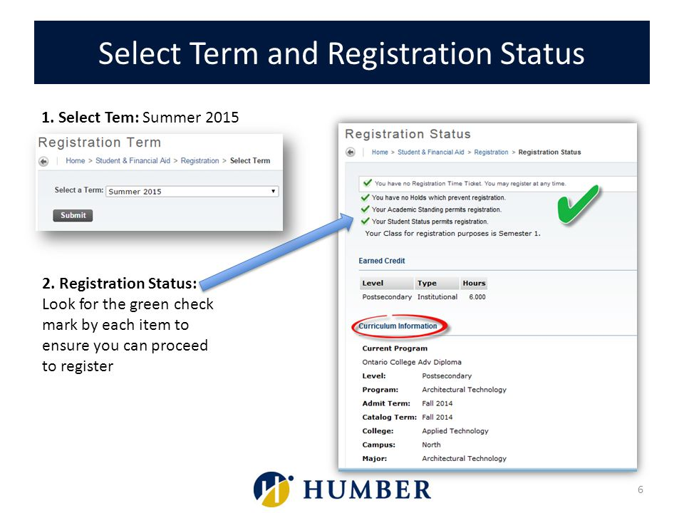 Select Term and Registration Status