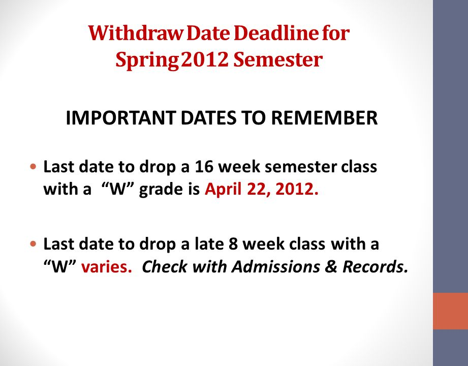 Withdraw Date Deadline for Spring 2012 Semester