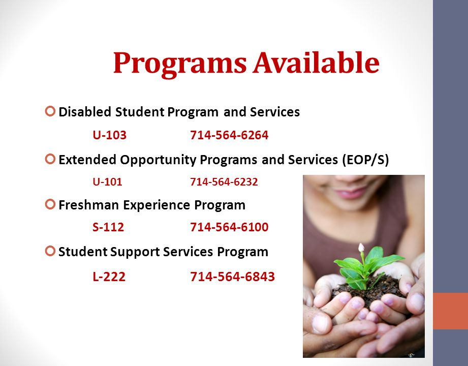 Programs Available Disabled Student Program and Services