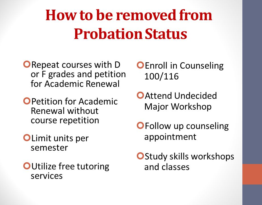How to be removed from Probation Status