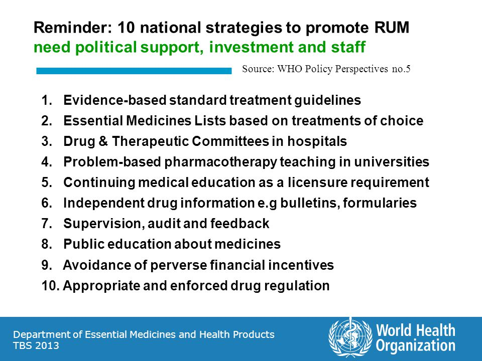 Reminder: 10 national strategies to promote RUM need political support, investment and staff