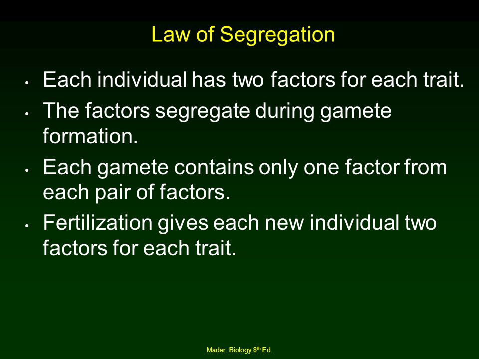 Each individual has two factors for each trait.