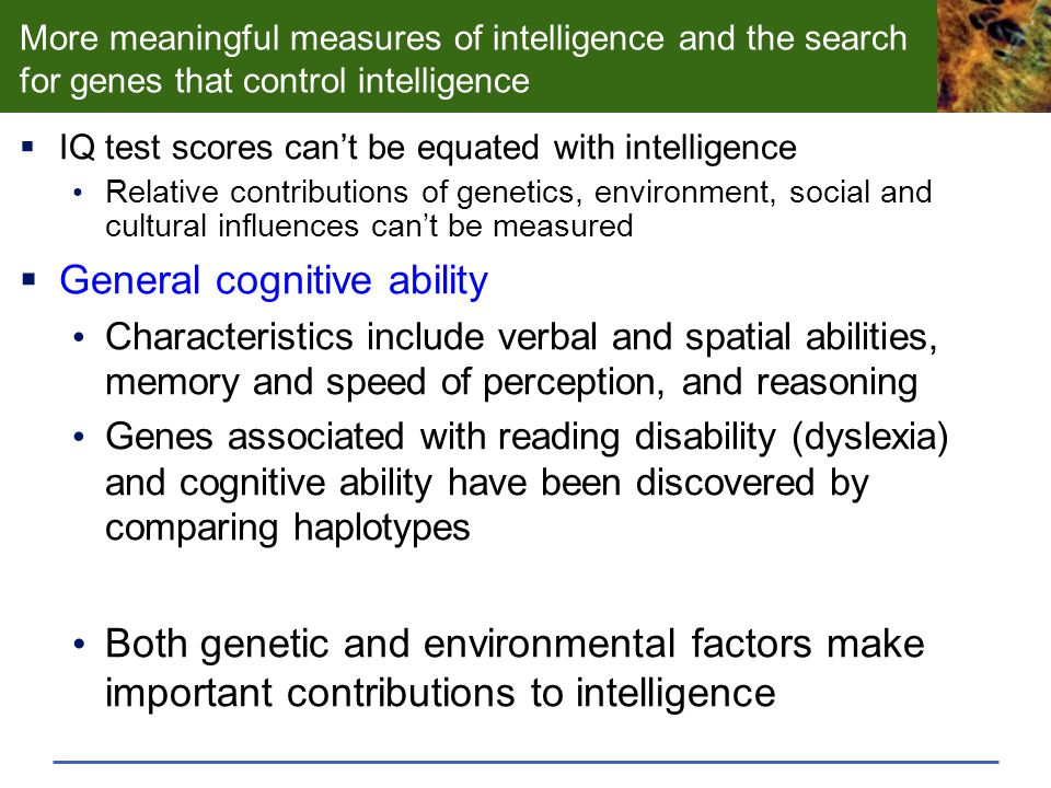 genetic and environmental factors of intelligence essay Between heredity and environment, which one contributes a greater  that  genetic factors set the limit of a given trait (eg intelligence) but the.