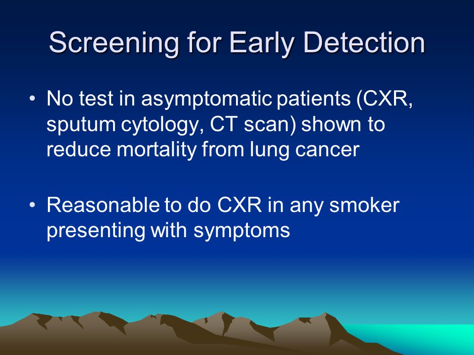 Screening for Early Detection