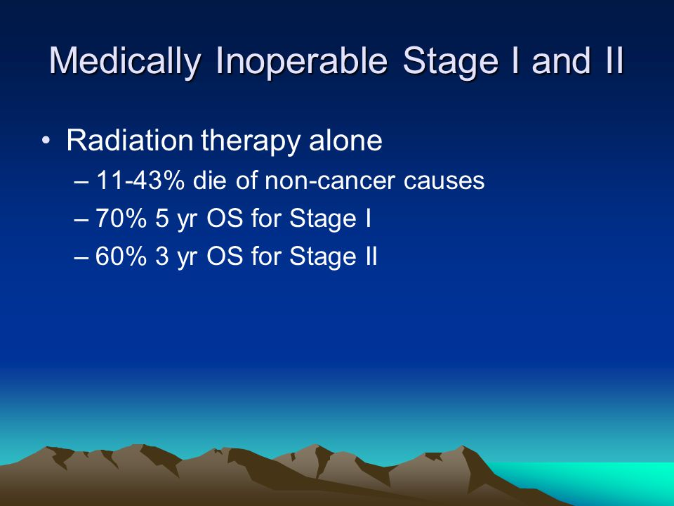 Medically Inoperable Stage I and II