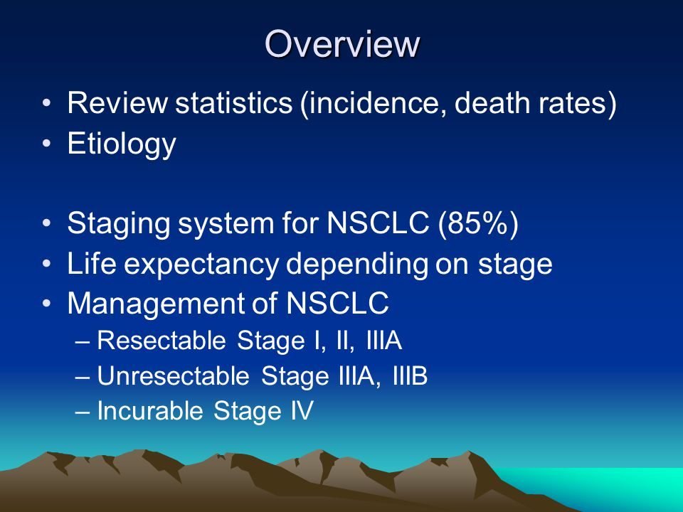 Overview Review statistics (incidence, death rates) Etiology