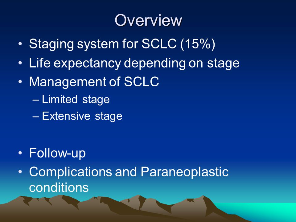 Overview Staging system for SCLC (15%)