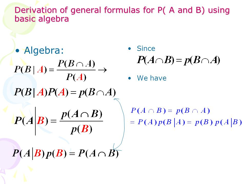 Derivation of general formulas for P( A and B) using basic algebra