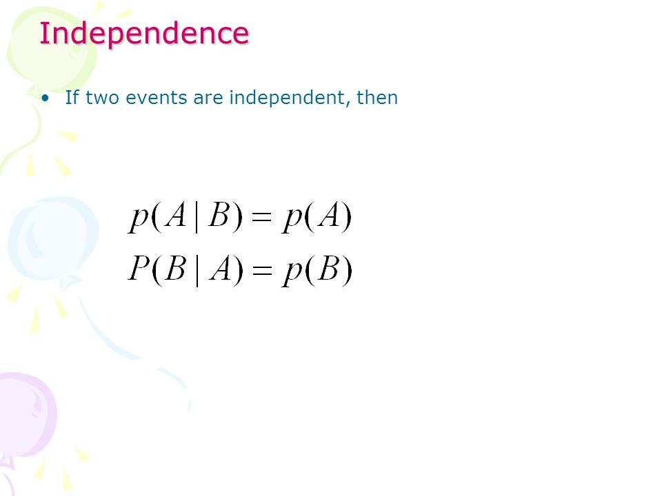 Independence If two events are independent, then