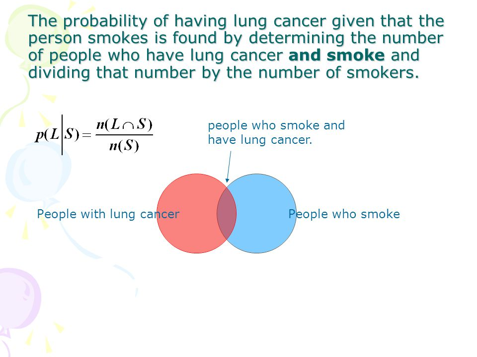 The probability of having lung cancer given that the person smokes is found by determining the number of people who have lung cancer and smoke and dividing that number by the number of smokers.