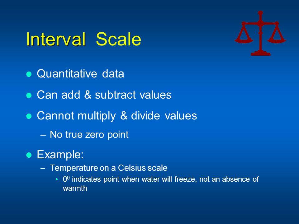 Interval Scale Quantitative data Can add & subtract values